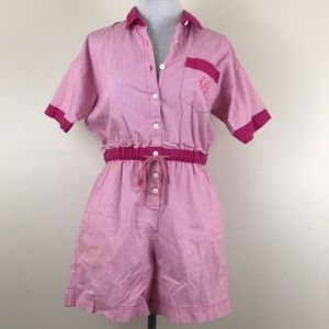 Vintage Evita Sport Striped Shorts Romper Jumpsuit